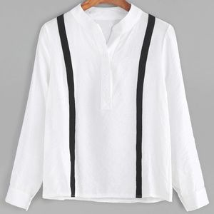 Tops - WHITE CONTRAST STRIPED TRIM BLOUSE